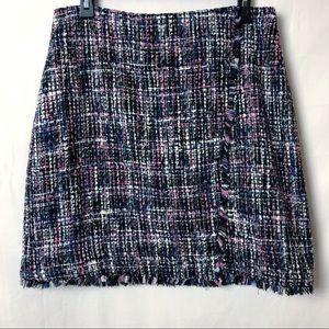 Loft Tweed A Line Back Zip Skirt Size 8